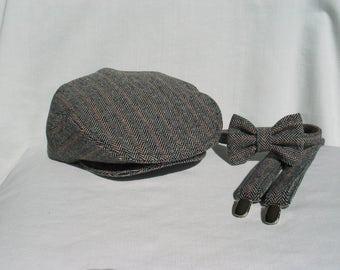 Wool Herringbone Flat Cap Suspender Bow Tie Set 0e6c61672680
