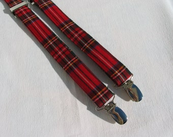 Suspenders, Royal Stewart Tartan Suspenders For Your Christmas Pageant or Christmas Photos