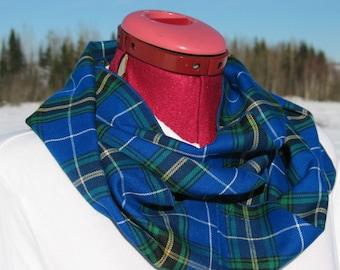 Nova Scotia Tartan Infinity Scarf, #NovaScotiaStrong Blue Plaid Tartan Scarf