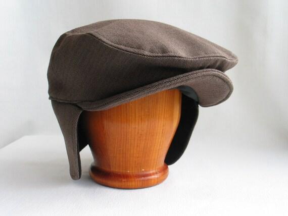 Cabbie Hat with Ear Flaps Brown Herringbone Newsboy Hat Ear  845a9dcf77f