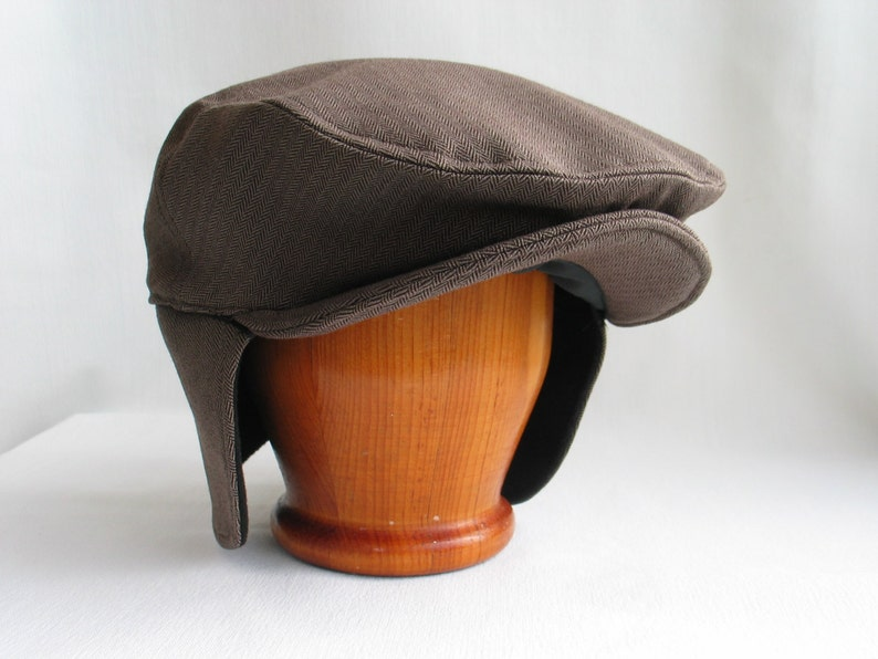 681878f9804 Cabbie Hat with Ear Flaps Brown Herringbone Newsboy Hat Ear