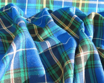 Fabric, Nova Scotia Tartan Fabric A Blue and White Plaid Material