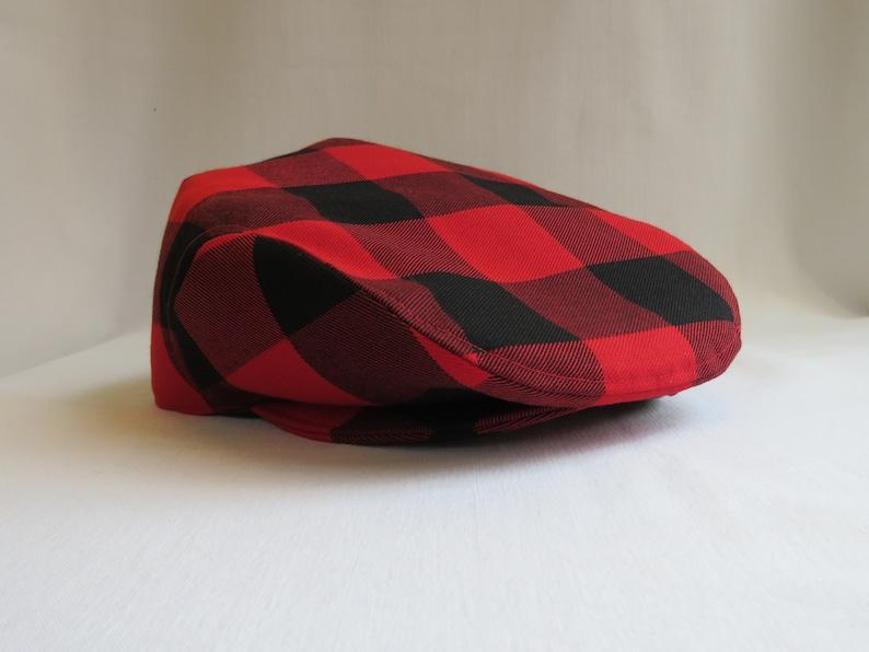 9b5d624fb2fa9 Red and Black Buffalo Check Flat Cap Red Buffalo Plaid