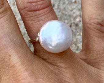Freshwater Coin Pearl Ring on Sterling
