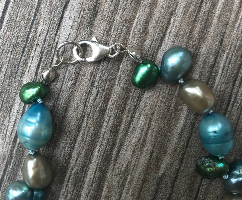 Freshwater Pearl Bracelet in Greens and Blues