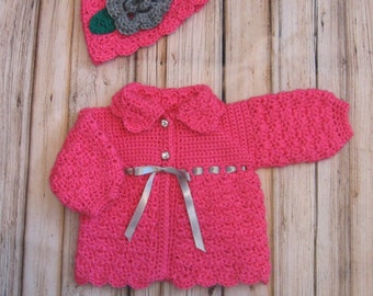 Pink Baby Sweater Set Knit Baby Girl Cardigan and Hat PInk Crochet newborn Baby Sweater Toddler Sweater and Beanie Pink Baby Girl Jacket