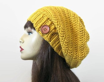 Slouchy mustard hat with Button Gold Crochet Hat Yellow beanie Mustard  Slouch Hat Gold knit beanie Mustard slouchy hat Gold Slouch Cap b24f6efbf21