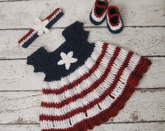 2d0553fe3d2c July 4 Crochet Baby Dress Newborn Knit Baby Clothes Crochet Baby Girl  American Flag Dress Baby girl dress set Independence Day dress
