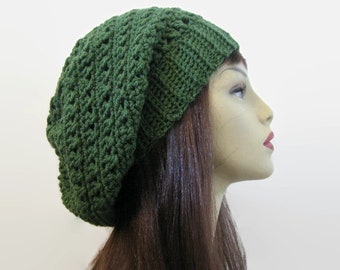 838e4689e7898 Dark Green Beanie Green Slouch Beanie Green Crochet women s hat Green  Crochet Beanie Forest Green Slouchy Beret Green slouch Tam knit hat