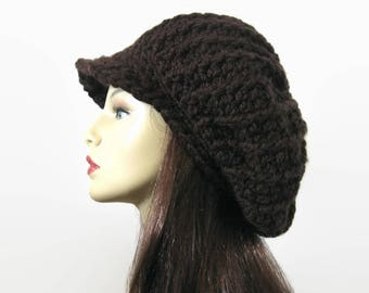 Brown Slouch Newsboy Hat Dreadlocks Hat with visor Adult Dark Brown knit Hat  with Brim Slouchy oversized newsboy hat Adult newsboy cap fe1a73fd719