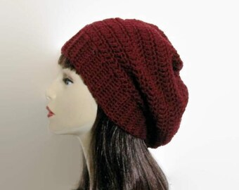 032e13bbe5f Burgundy Slouch Hat Wine Crochet women s Hat Dark Red Slouch Hat Wine  Crochet Tam Burgundy Knit Cap Red Tam Slouchy Red Beret Burgundy Tam