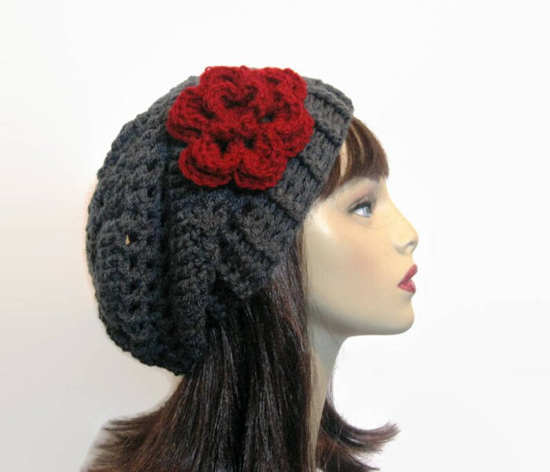 b99a9e4931b Crochet Slouchy Hat with Flower Charcoal Slouch Hat Gray