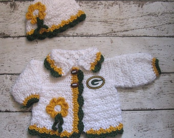 Green Bay Packers Crochet Baby Sweater Set Knit Baby Girl Cardigan and Hat  Crochet newborn Baby Sweater Hat Set Toddler football sweater