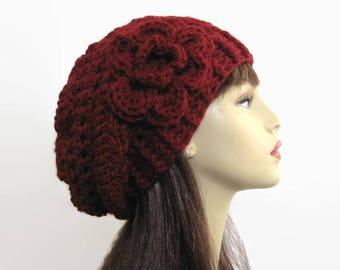 Crochet Slouch Hat with Flower Burgundy Hat Dark Red Slouch Hat Knit slouch Beanie Maroon Slouch Hat Wine Beanie  Women's Slouchy Hat