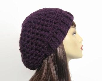 Purple Crochet Beanie Purple Slouch Hat  Purple Slouchy  Beret Purple Knit Beanie Purple Crochet Hat Eggplant Beanie crochet women's hat