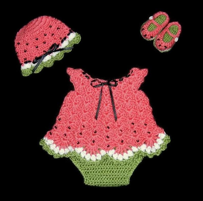 e95875ac52d42 Watermelon Baby Girl Dress Set Newborn Baby Outfit Layette Set | Etsy