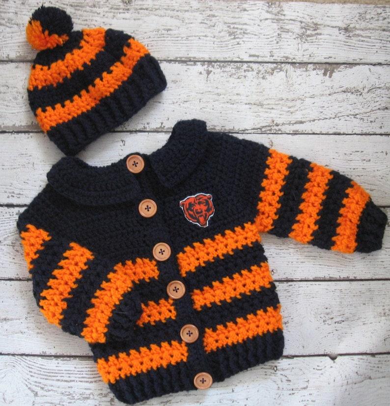 8641a2769 Crochet Baby Sweater Set Baby Boy Sweater Chicago Bears Knit