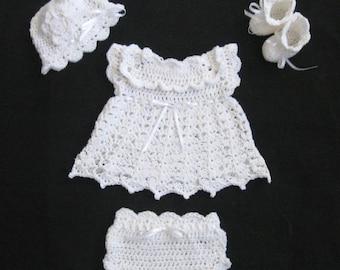 White Baby Dress Set Crochet Baptism Dress Set White Baby Layette Set Christening Set White Diaper Dress Set Knit blessing dress coming home