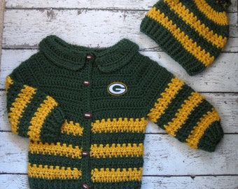 Baby Boy Sweater Green Bay Packers Crochet Baby Sweater Set Knit Baby Boy Cardigan and Hat Crochet newborn Hat Set Toddler football sweater