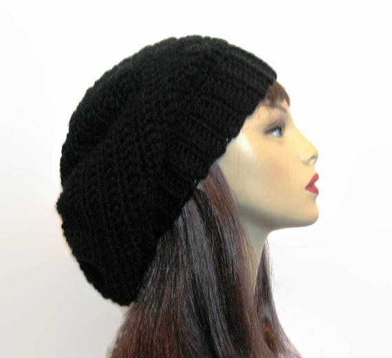 Black Slouchy Beanie Black Crochet Slouch Hat Black Oversized  d9f2a33586c