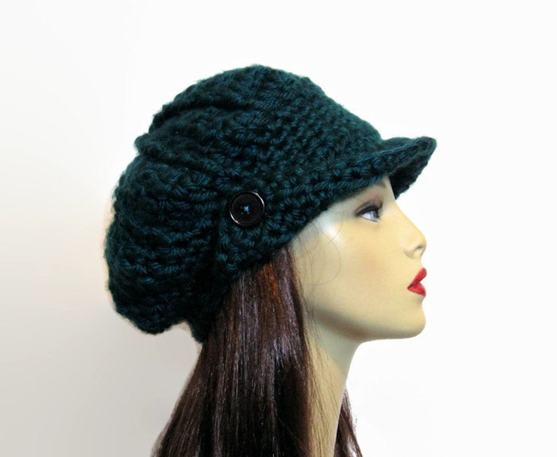 3706875de66 Crochet Newsboy Hat Crochet Teal Slouchy adult Newsboy Cap