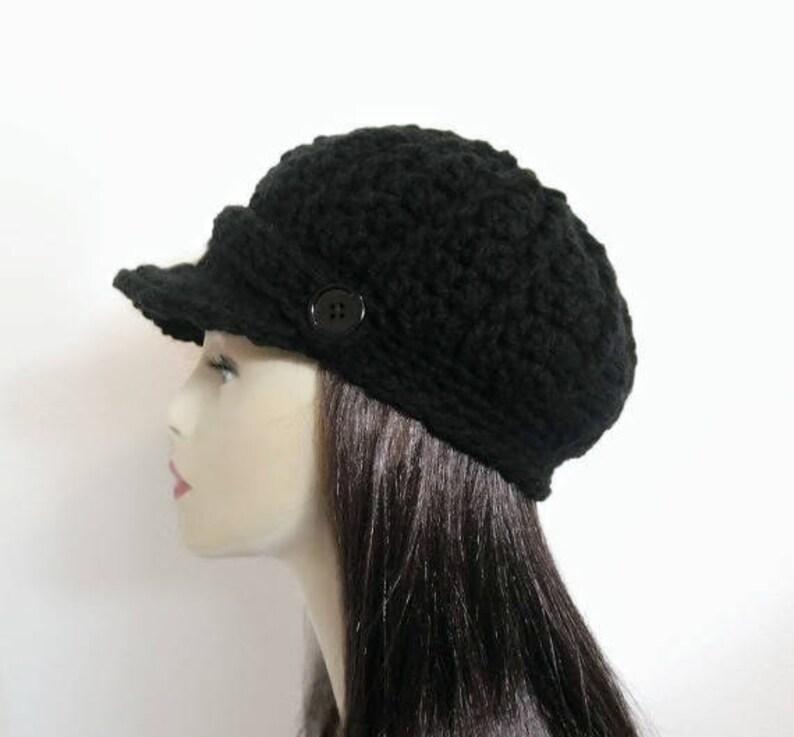 1d1b4223a8553 Casquette avec visière Crochet Gavroche chapeau noir chapeau   Etsy