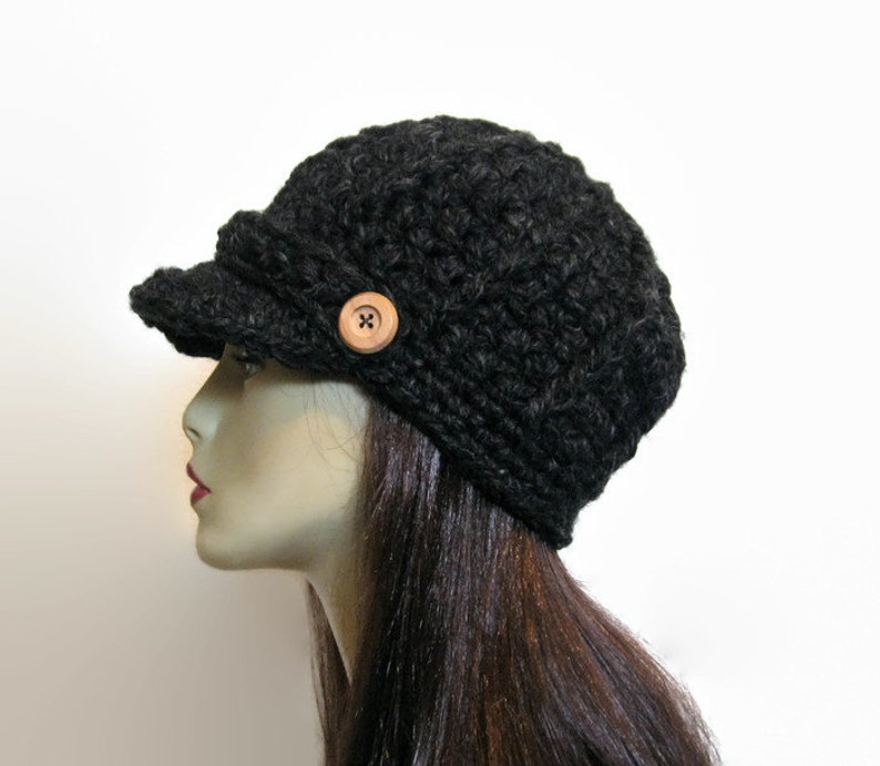 29ee22e2c2a Black Tweed knit Newsboy Crochet Womens Newsboy Hat with Brim