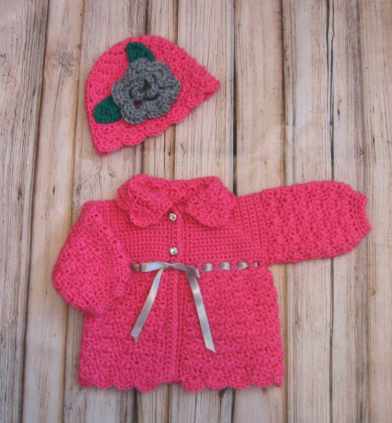 eb08448b8 Pink Baby Sweater Set Knit Baby Girl Cardigan and Hat PInk