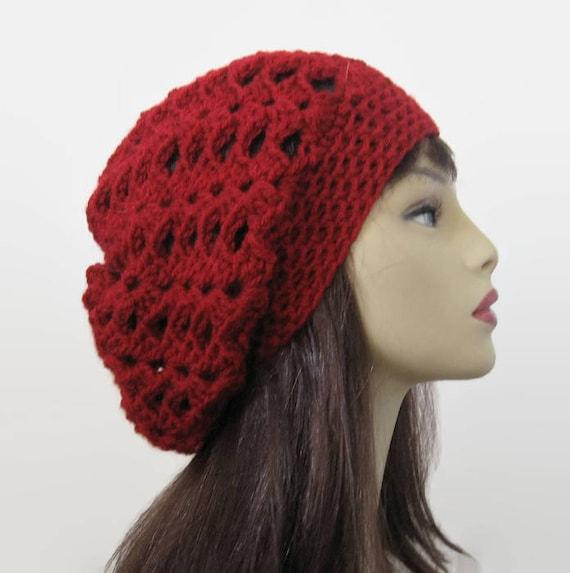 7845c32636a Dark Red Beanie Maroon slouch beanie Crochet Slouchy Hat