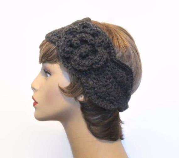 Grau häkeln Stirnband Kohle Strick Stirnband mit Blume grau