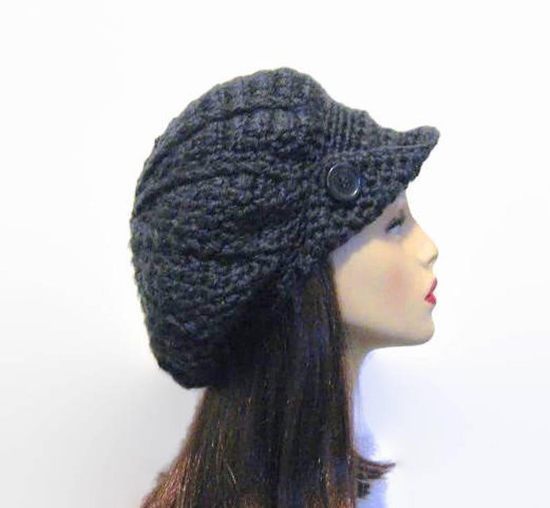 170d6664ca295 Bonnet avec visière et bouton béret casquette chapeau Gavroche   Etsy
