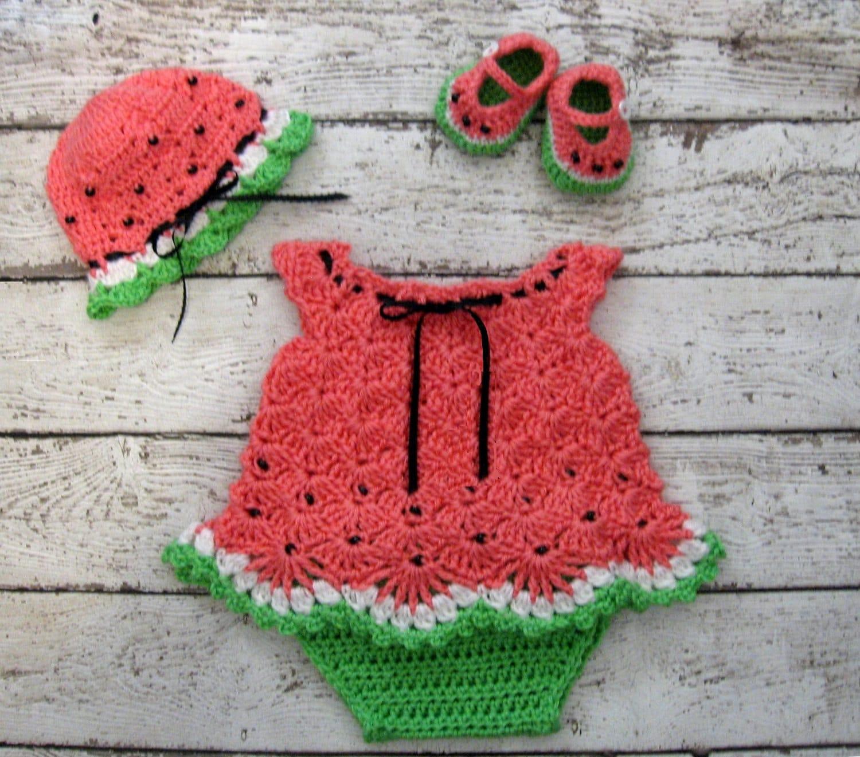 6b5d05cbc629a Watermelon Crochet Baby Dress Set Preemie Baby Dress Set | Etsy