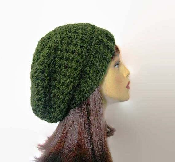 b85c80264d67e Green Slouch Beanie Green Crochet women s Hat Forest