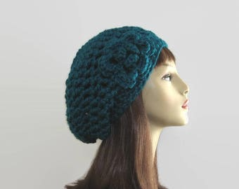 Teal Slouchy Hat with Flower Teal Slouch Beanie with Flower Aqua Crochet women's hat teal Crochet Beanie with Flower Teal knit beanie
