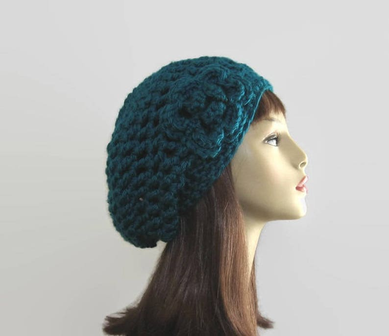 7c0e8db0853 Teal Slouchy Hat with Flower Teal Slouch Beanie with Flower