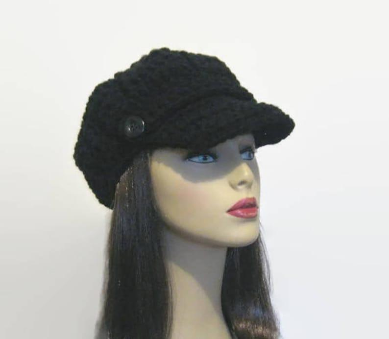 6e1a3b39f066b Black Newsboy Hat Crochet Newsboy Black knit Hat with Visor