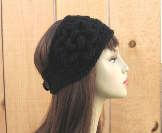 Crochet Black Headband With Flower Black Earwarmer Crochet Ear Etsy