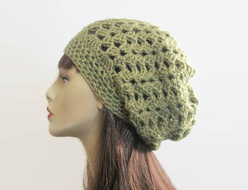 91f8d3c7fdc62 Green Slouch Beanie Olive Green Beanie Green Crochet Cap