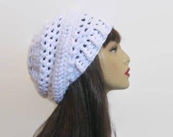 Slouchy Crochet Hat White Slouch Beanie Crochet women's hat White Slouchy Hat White Crochet Tam White Beanie Crochet slouch knit beanie