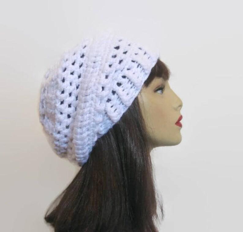 923b3e79e18 Slouchy Crochet Hat White Slouch Beanie Crochet women s