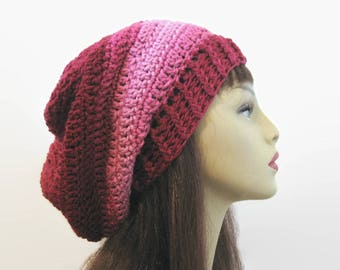 Burgundy Slouch Hat Wine Crochet Hat Dark Red Slouch Hat Wine Crochet Tam Burgundy Knit Cap Women's Red Tam Slouchy Red Beret MaroonTam