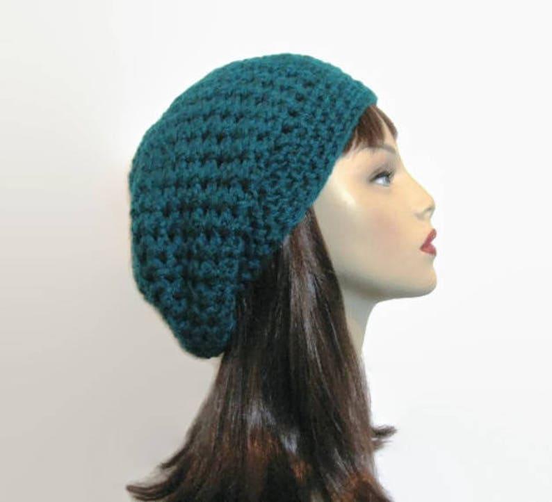 23e901d6b41 Teal Slouch Beanie Teal Crochet Hat Crochet Women s hat