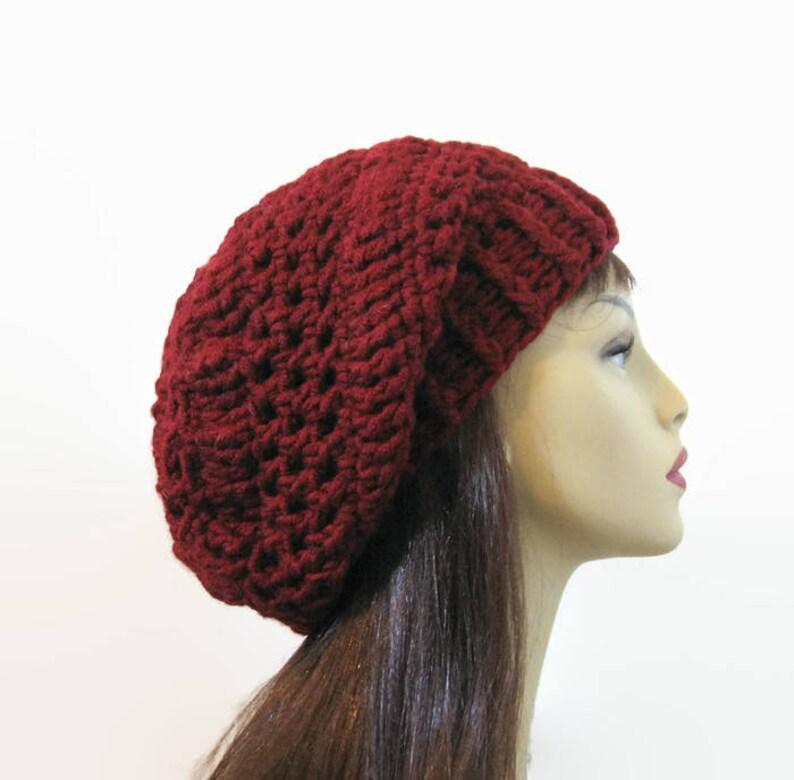 52d4f96581120 Red Crochet Slouchy Cap Maroon Hat Dark Red Crochet Cap