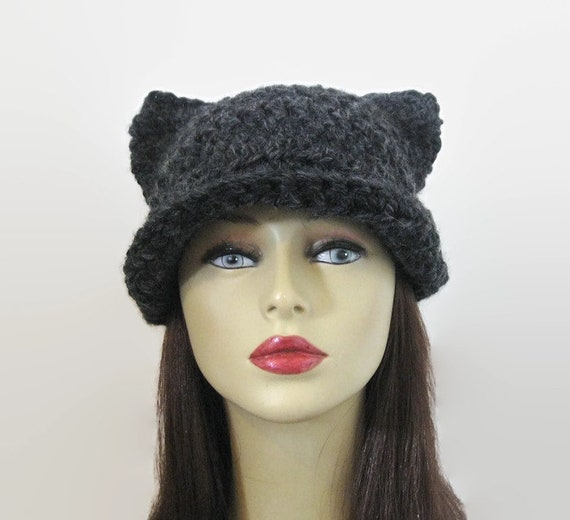 Holzkohle Katze Hut Mit Krempe Häkeln Katzenmütze Mit Schild Etsy