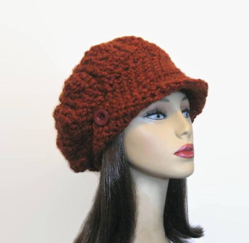Rust Slouchy Newsboy Hat Crochet Brick Slouch Knit newsboy  9ec23f31210