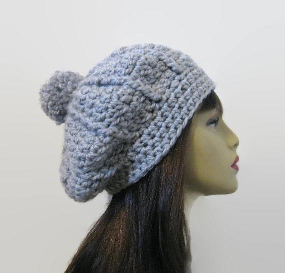38a5a6d8f14 Gray Slouchy Hat Crochet Hat with Pompom Women s crochet