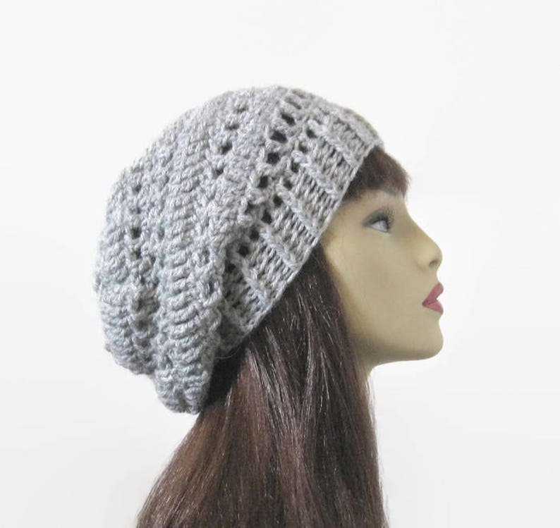 46246bbbedb Crochet Slouchy Hat Slouch Beanie Gray Knit Slouchy Hat Light