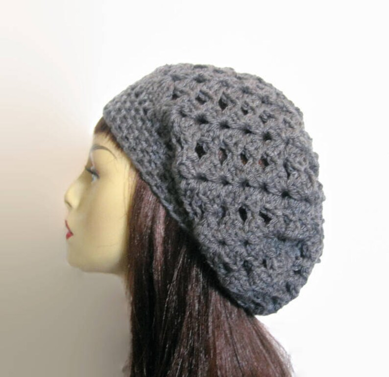 5b45ef81ddd Crochet Slouchy Hat Slouch Beanie Gray Hat Charcoal Slouchy