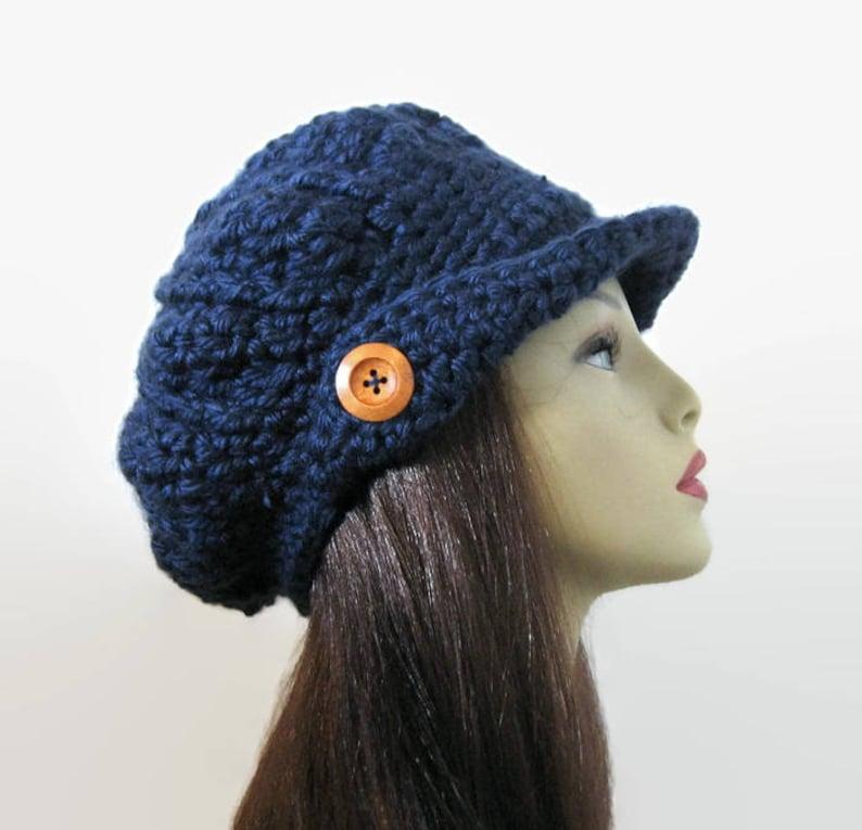 8ab0a07ace7c1 Crochet Newsboy Hat Dark Blue Newsboy Hat Navy Hat with Visor