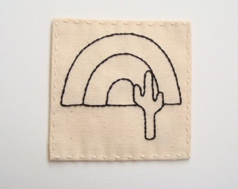 Hand Embroidered Cactus Patch with Rainbow